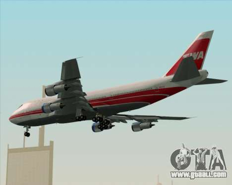 Boeing 747-100 Trans World Airlines (TWA) for GTA San Andreas back left view