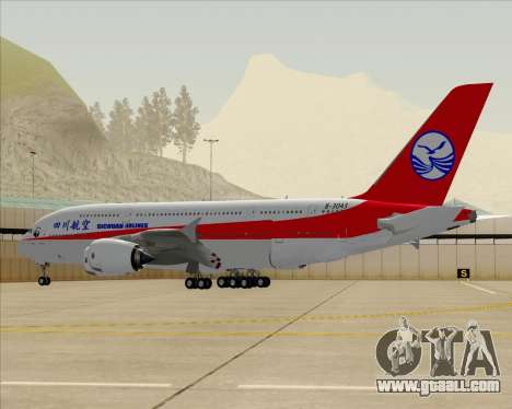 Airbus A380-800 Sichuan Airlines for GTA San Andreas bottom view