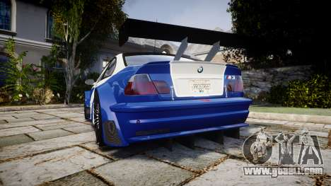 BMW M3 E46 GTR Most Wanted plate NFS Pro Street for GTA 4 back left view