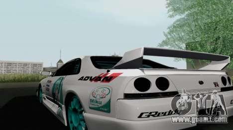 Nissan Skyline GT-R33 for GTA San Andreas back left view