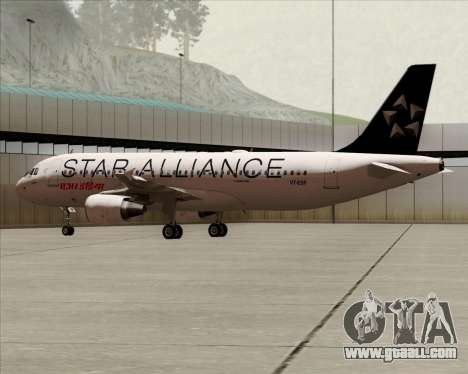 Airbus A320-200 Air India (Star Alliance Livery) for GTA San Andreas back left view