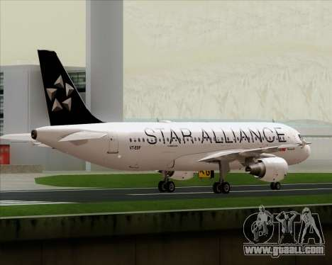 Airbus A320-200 Air India (Star Alliance Livery) for GTA San Andreas bottom view