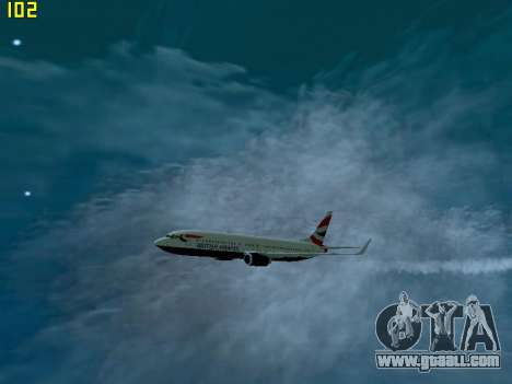 Boeing 737-800 British Airways for GTA San Andreas back left view