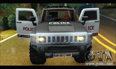 Hummer H3 Police for GTA San Andreas back view