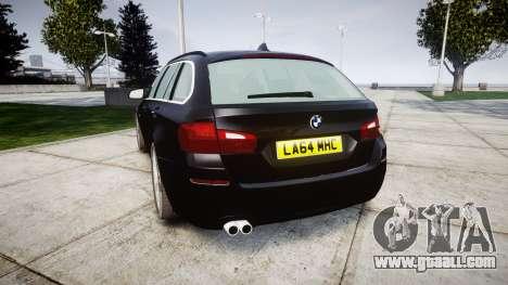 BMW 525d F11 2014 Facelift Civilian for GTA 4 back left view