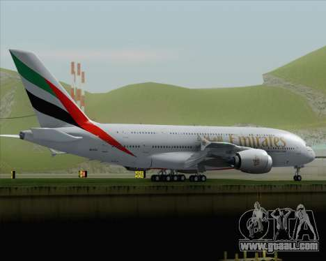 Airbus A380-800 Emirates (A6-EDJ) for GTA San Andreas back left view