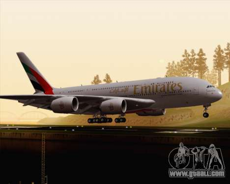 Airbus A380-800 Emirates (A6-EDJ) for GTA San Andreas left view