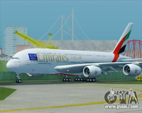 Airbus A380-800 Emirates (A6-EDJ) for GTA San Andreas right view