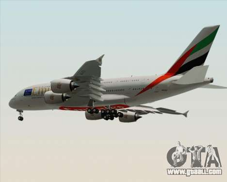 Airbus A380-800 Emirates (A6-EDJ) for GTA San Andreas back view