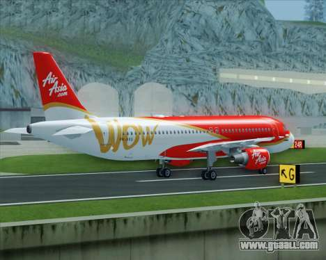 Airbus A320-200 Indonesia AirAsia WOW Livery for GTA San Andreas side view