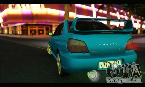 Subaru Impreza WRX STI Tuning for GTA San Andreas back left view