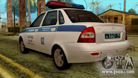Lada Priora 2170 Police DPS Moscow for GTA San Andreas left view