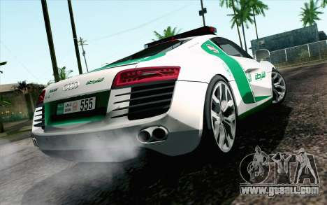 Audi R8 V8 FSI 2014 Dubai Police for GTA San Andreas left view