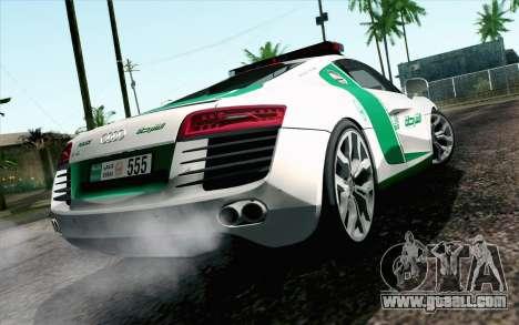 Audi R8 V8 FSI 2014 Dubai Police for GTA San Andreas left view