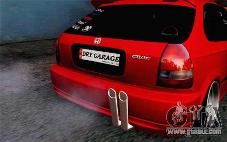 Honda Civic DRY Garage for GTA San Andreas back view