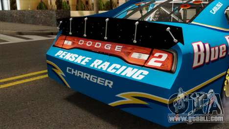 NASCAR Dodge Charger 2012 Plate Track for GTA San Andreas back view