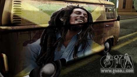 Volkswagen T2 Bob Marley for GTA San Andreas back view