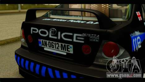 Toyota Altezza Police for GTA San Andreas back view