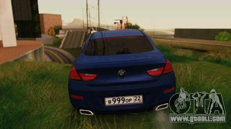 BMW 6 Series Gran Coupe 2014 for GTA San Andreas back left view