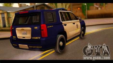 Chevrolet Suburban 2015 BCSD Sheriff for GTA San Andreas left view