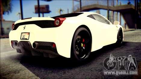 Ferrari 458 Speciale 2015 for GTA San Andreas left view