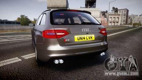 Audi S4 Avant Unmarked Police [ELS] for GTA 4 back left view