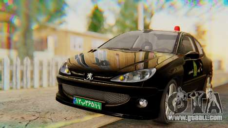 Peugeot 206 Coupe Police for GTA San Andreas right view