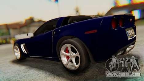 Chevrolet Corvette Sport for GTA San Andreas back left view