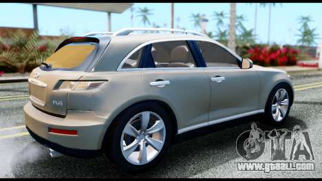 Infiniti FX45 for GTA San Andreas back left view