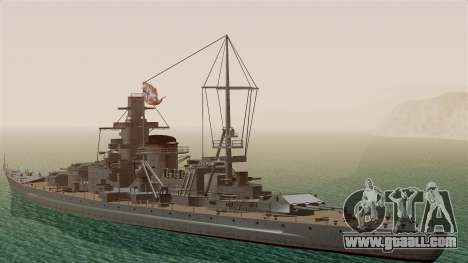 Scharnhorst Battleship for GTA San Andreas back left view