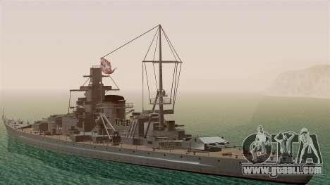 Scharnhorst Battleship for GTA San Andreas back left view