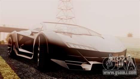 Pegassi Zentorno Cabrio v2 for GTA San Andreas back left view