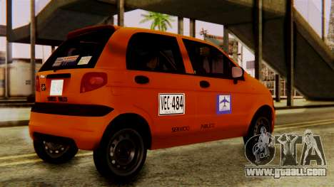 Daewoo Matiz Taxi for GTA San Andreas back left view