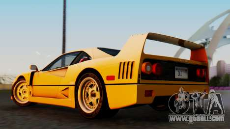 Ferrari F40 1987 without Up Lights for GTA San Andreas left view