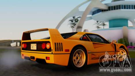 Ferrari F40 1987 without Up Lights for GTA San Andreas back left view