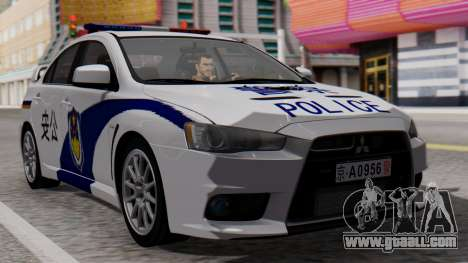 Mitsubishi Lancer Evo X Chinese Police for GTA San Andreas