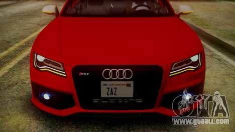 Audi RS7 2014 for GTA San Andreas bottom view