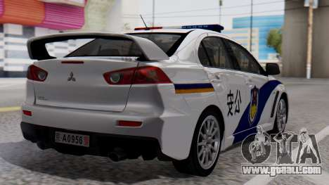 Mitsubishi Lancer Evo X Chinese Police for GTA San Andreas left view