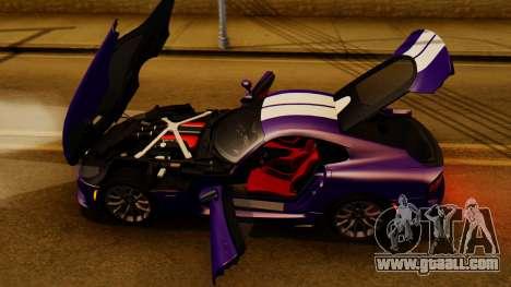 Dodge Viper SRT GTS 2013 IVF (HQ PJ) HQ Dirt for GTA San Andreas inner view