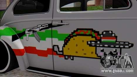 Volkswagen Beetle Vocho Nyan Cat V Mexicano for GTA San Andreas back left view