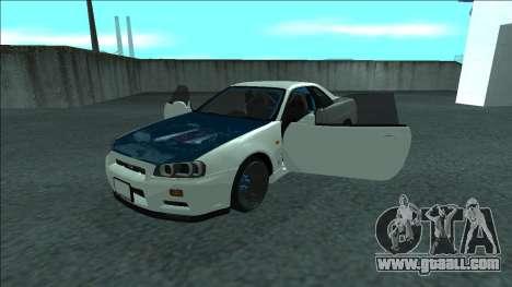 Nissan Skyline R34 Drift for GTA San Andreas bottom view