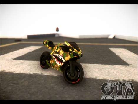 Bati Motorcycle Camo Shark Mouth Edition for GTA San Andreas back left view