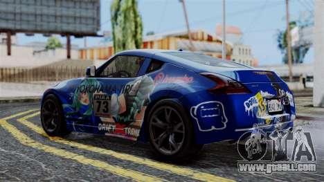 Nissan 370Z Tunable Miku Paintjob for GTA San Andreas back left view