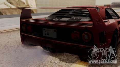 Ferrari F40 1987 without Up Lights HQLM for GTA San Andreas back view