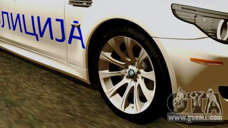 BMW M5 E60 Macedonian Police for GTA San Andreas back left view