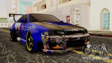 Nissan Skyline R33 Widebody Itasha for GTA San Andreas