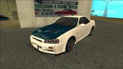 Nissan Skyline R34 Drift белый for GTA San Andreas