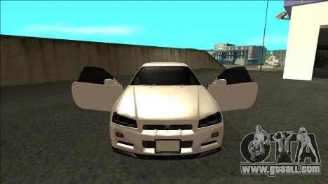Nissan Skyline R34 Drift JDM for GTA San Andreas inner view