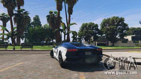 GTA 5 Lamborghini Aventador Police rear left side view