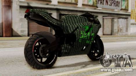 Bati Motorcycle Razer Gaming Edition for GTA San Andreas left view